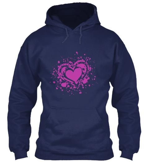 Emotional Grunge Heart Hoodie Navy T-Shirt Front