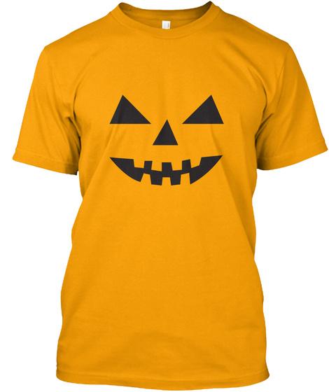Halloween Pumpkin T Shirt And Hoodie Gold T-Shirt Front