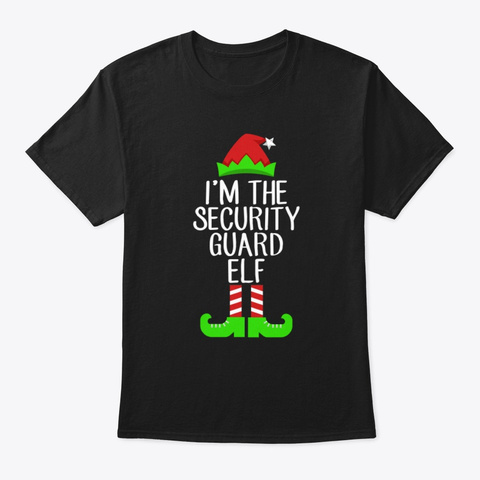 I'm The Security Guard Elf Christmas Tee Black T-Shirt Front