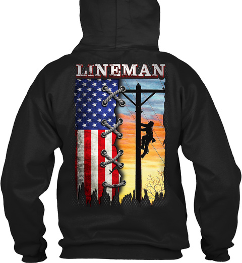 Lineman Black T-Shirt Back
