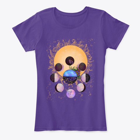 Moon Phase Science Purple T-Shirt Front