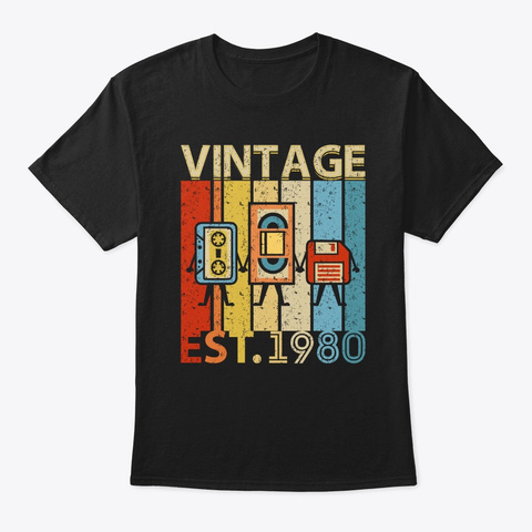 Vintage Best Of 1980 40th Birthday Casse Black T-Shirt Front