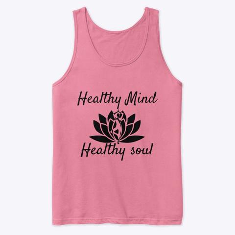 Yoga Meditation Apparel Healthy Mind Neon Pink T-Shirt Front