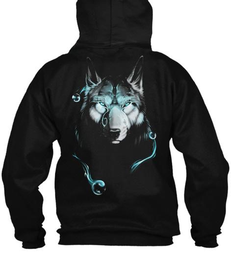 Nion Wolf Zipped Hoodie  Black T-Shirt Back