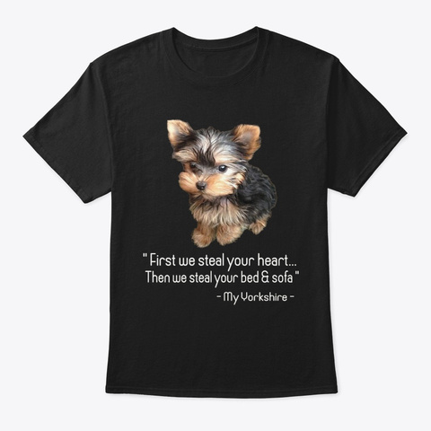 We Love Dogs Yorkshire Black T-Shirt Front