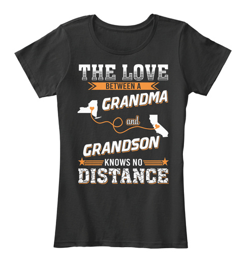 The Love Between Grandma And Grandson Knows No Distance Black Women's T-Shirt Front