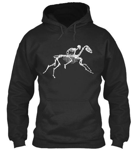 Skeleton Horse Jet Black Sweatshirt Front