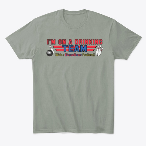 Bowling Drinking Team Shirt Grey T-Shirt Front