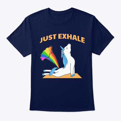 Unicorn Yoga Farting Rainbow Just Exhale Navy T-Shirt Front
