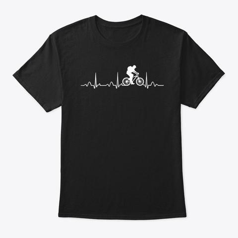 Cycling Heartbeat Shirt, Funny Cute  Black T-Shirt Front