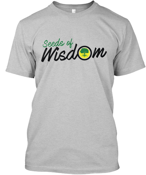 Seeds Of Wisdom Light Heather Grey  T-Shirt Front