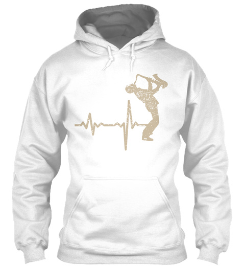 Gift Heartbeat Saxophone Player 02 White T-Shirt Front