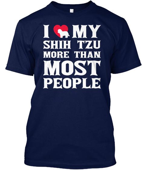 Shih Tzu Navy T-Shirt Front