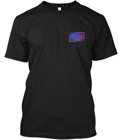 America: 80's Flag Black T-Shirt Front