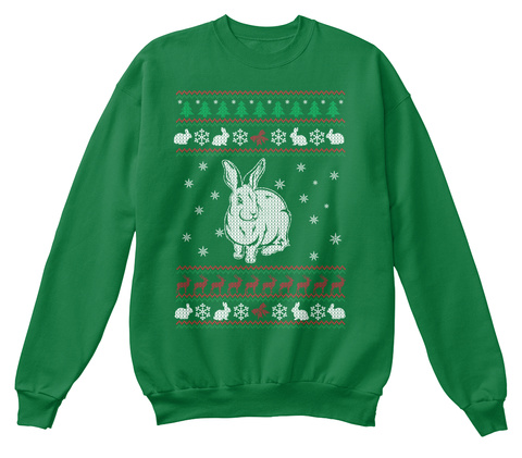Christmas Sweater: Bunny Ugly Christmas Kelly Green  T-Shirt Front