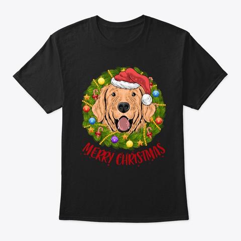Golden Dog In Christmas Wreath Shirt Black T-Shirt Front