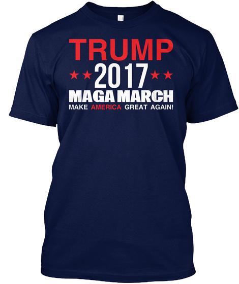 Trump  Maga March Navy T-Shirt Front