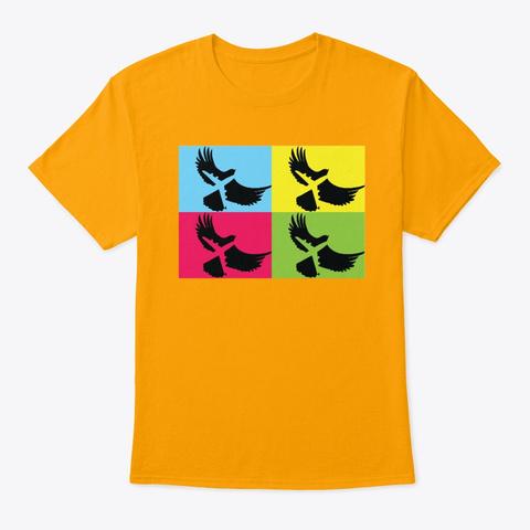 Pop Art Eagle  &Amp; Aircraft Fun Colors Gold T-Shirt Front