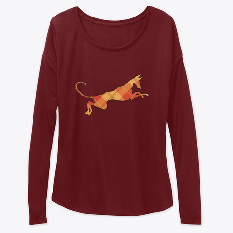 """Wire Ibizan Hound Holiday Plaid """"Spain"""" Maroon T-Shirt Front"""