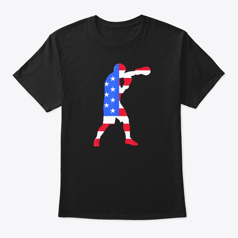 Funny Boxing American Flag Tee Usa Patri Black T-Shirt Front