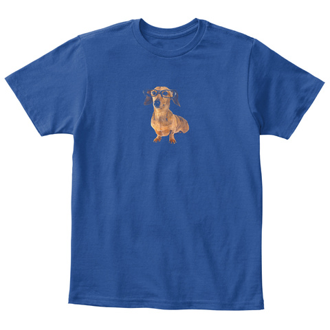 Twisted Envy Doxie Dachshund Hipster Dog Deep Royal  T-Shirt Front
