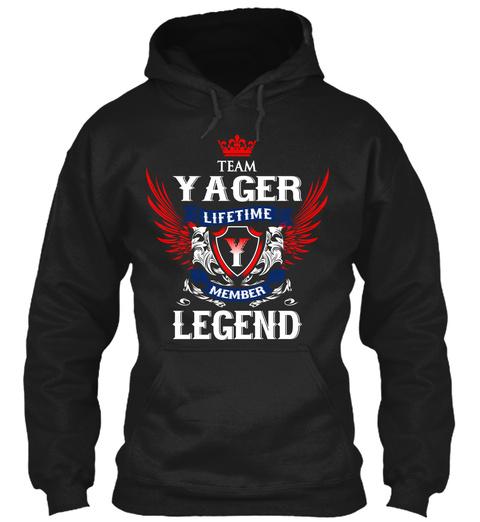 Team Yager Lifetime Member Legend Black T-Shirt Front