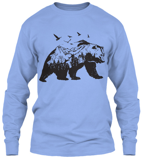 Mountain Bear  Hiking Long Sleeve Light Blue Long Sleeve T-Shirt Front