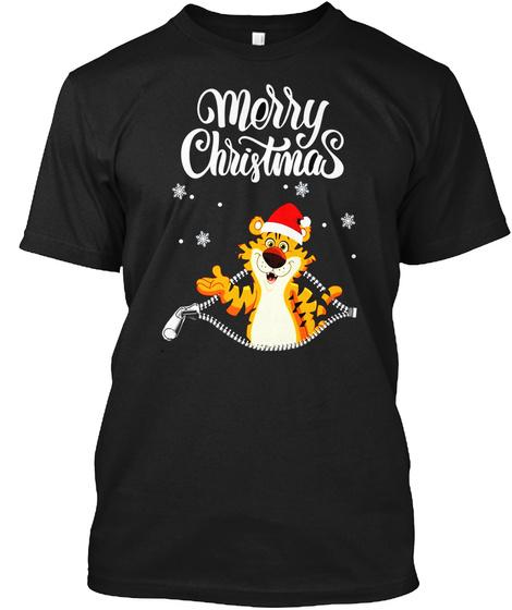 Tiger Santa Merry Christmas Costume Shirt   Halloween Shirts Black T-Shirt Front