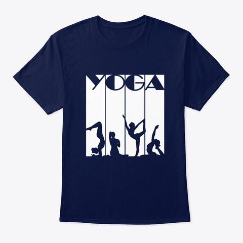 Yoga Posture Designs  Navy T-Shirt Front
