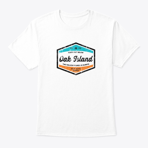Oak Island Forty Feet Vintage Compuss Te White T-Shirt Front
