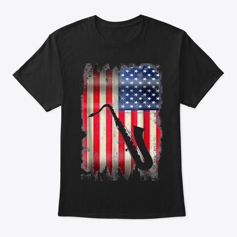 Usa Saxophone Vintage American Flag Black T-Shirt Front