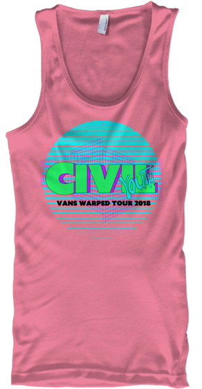 Civil Youth Vans Warped Tour 2018 Neon Pink Tank Top Front