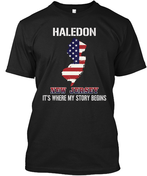 Haledon Nj   Story Begins Black T-Shirt Front