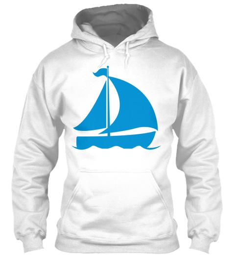 Ocean Boat Silhouette Art White T-Shirt Front