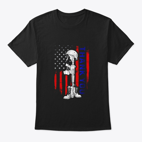 Distressed Memorial Day Shirt Flag Black T-Shirt Front