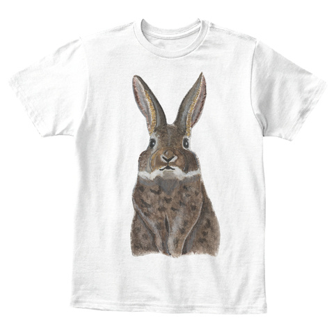 Watercolor Bunny Kids Tee White T-Shirt Front