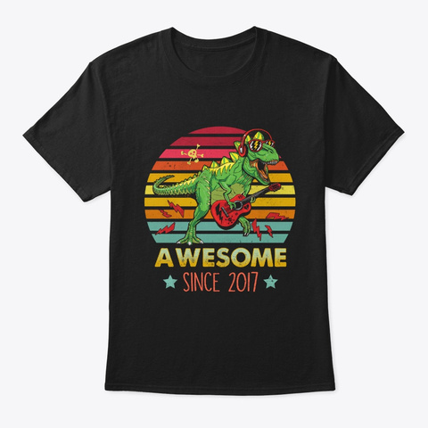 2 Years Old 2nd Birthday Kid Dinosaur  Black T-Shirt Front