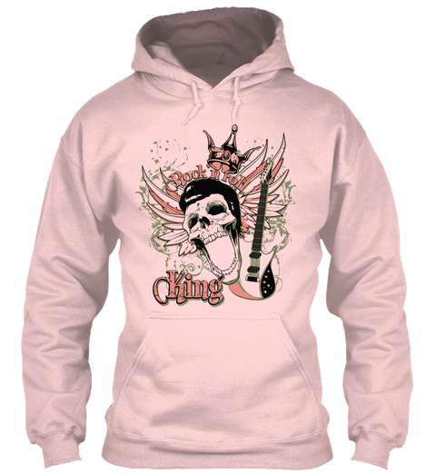 Rock N Roll King Hoodie Light Pink T-Shirt Front