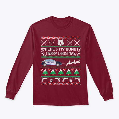 Where's My Donut Merry Christmas Police Cardinal Red T-Shirt Front