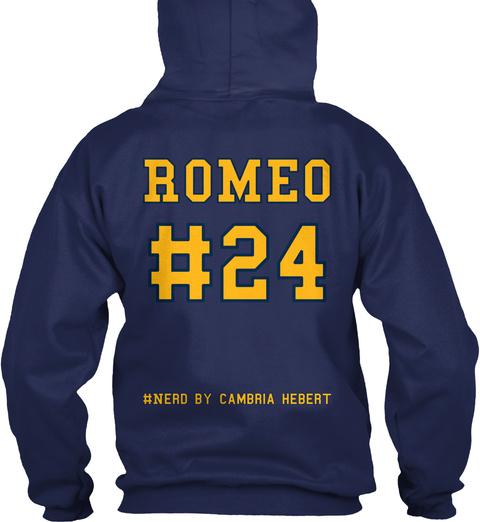 Romeo #24 #Nerd By Cambria Hebert Navy T-Shirt Back