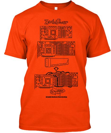 Zombipower Benchmario Actually Hardcore Clocking Orange T-Shirt Front