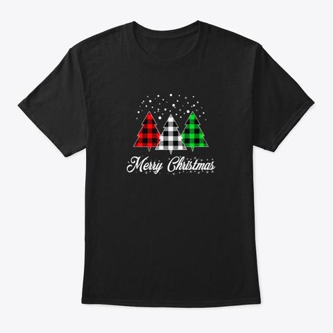 Christmas Santa Tree Xmas Holiday Snow Black T-Shirt Front