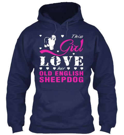 Old English Sheepdog Gift Shirt. Navy T-Shirt Front
