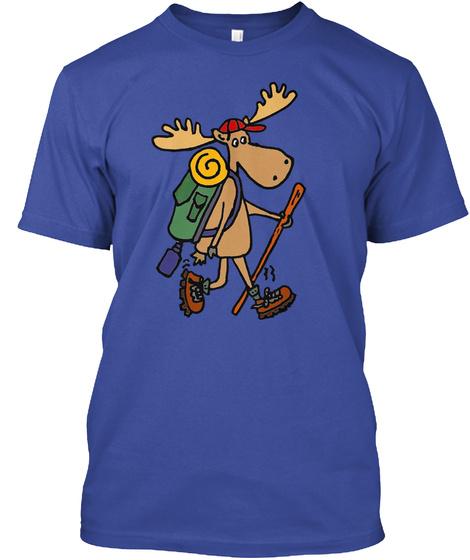Funny Hiking Moose Deep Royal T-Shirt Front