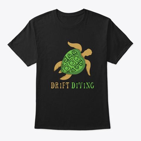 Turtle Drift Diving Black T-Shirt Front