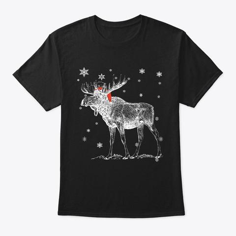 Christmas Pajama   Christmas Moose Santa Black T-Shirt Front