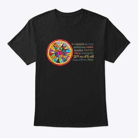 Aries Astrology Mandala Shirt Black T-Shirt Front