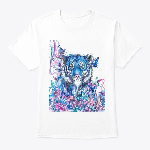 Tiger And Butterflies White T-Shirt Front