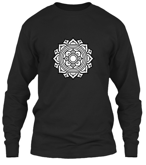 Flower Shaped Tribal Black T-Shirt Front
