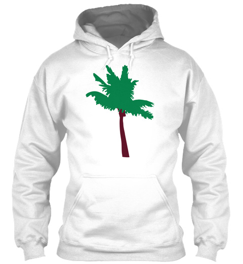 Palm Vector Outline White T-Shirt Front